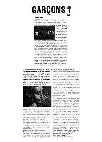"""Les Puritains"" vu par Garçons"